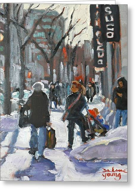 Montreal Winter Scene St Catherine Greeting Card by Darlene Young