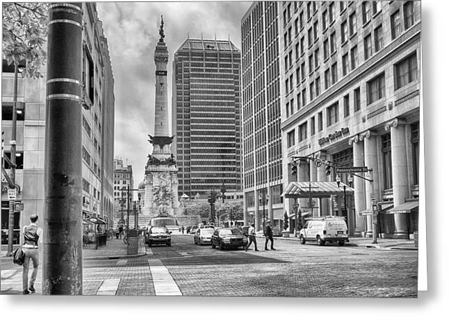 Greeting Card featuring the photograph Monument Circle by Howard Salmon