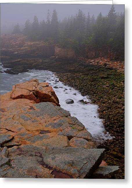 Greeting Card featuring the photograph Monument Cove In The Fog by Stephen  Vecchiotti