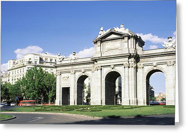 Monument In A City, Alcala Gate, Plaza Greeting Card by Panoramic Images