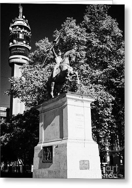 monument to general san martin on ohiggins avenue Santiago Chile Greeting Card