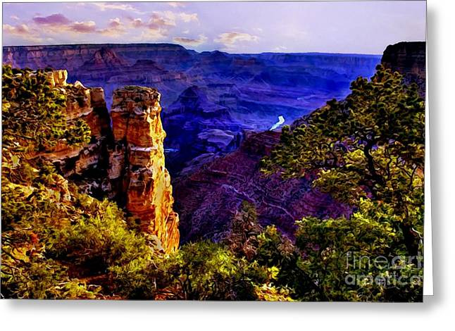 Monument To Grand Canyon  Greeting Card by Bob and Nadine Johnston
