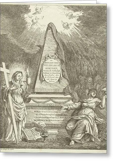 Monument To Wilhelmus Somveen, Hermanus Van Brussel Greeting Card by Hermanus Van Brussel And Jan Severeinse