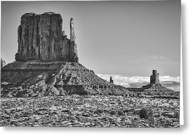 Greeting Card featuring the photograph Monument Valley 3 Bw by Ron White