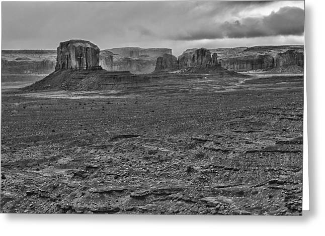 Greeting Card featuring the photograph Monument Valley 4 Bw by Ron White