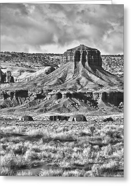 Greeting Card featuring the photograph Monument Valley 7 Bw by Ron White