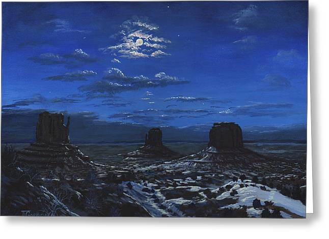 Monument Valley By Moon Light Greeting Card by Timithy L Gordon