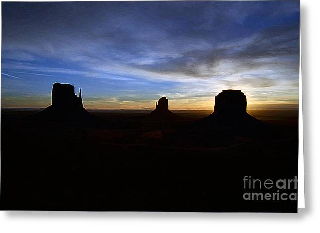 Monument Valley Desert Sunrise And Butte Silhouettes Accented Edges Digital Art Greeting Card by Shawn O'Brien