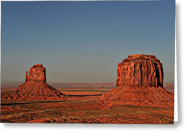 Monument Valley - East Mitten And Merrick Butte Greeting Card by Christine Till