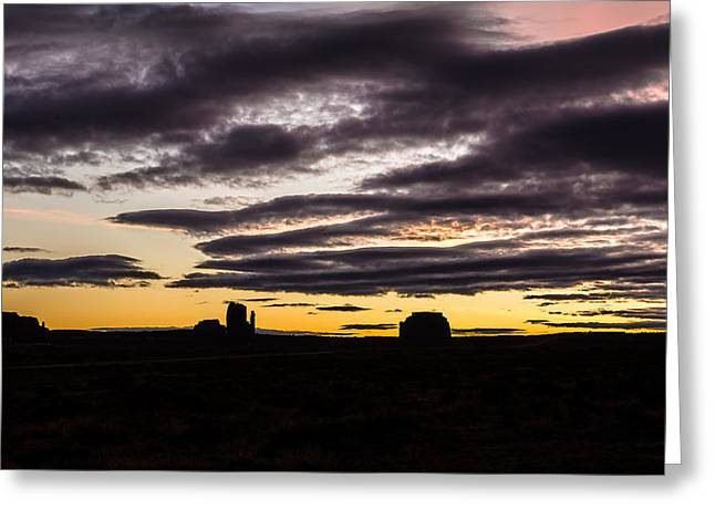 Greeting Card featuring the photograph Monument Valley First Light by Todd Aaron