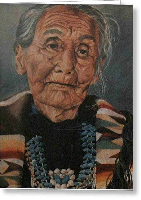 Monument Valley Lady Greeting Card by Wanda Dansereau