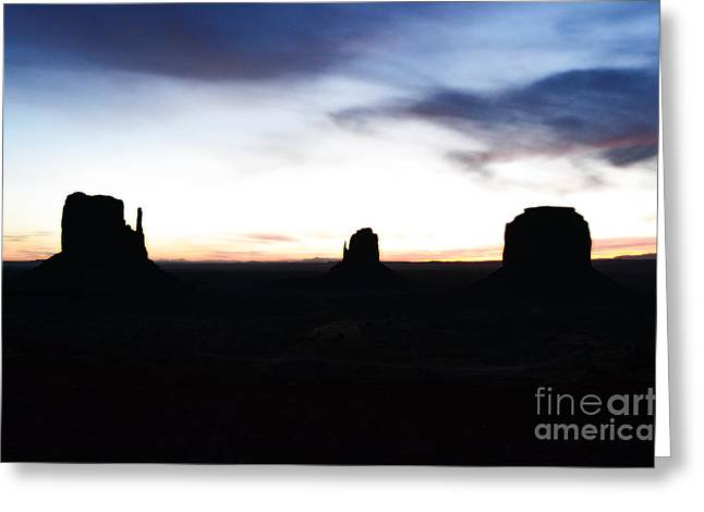 Monument Valley Morning Twilight And Butte Silhouettes Diffuse Glow Digital Art Greeting Card by Shawn O'Brien