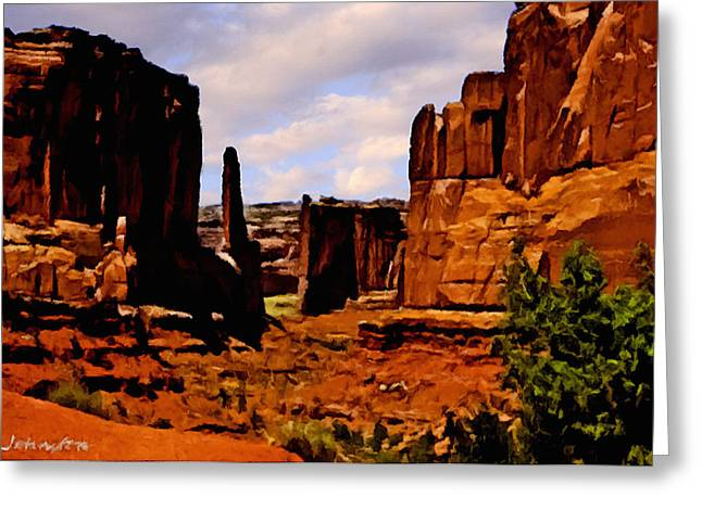 Monument Valley Painting Greeting Card by Bob and Nadine Johnston