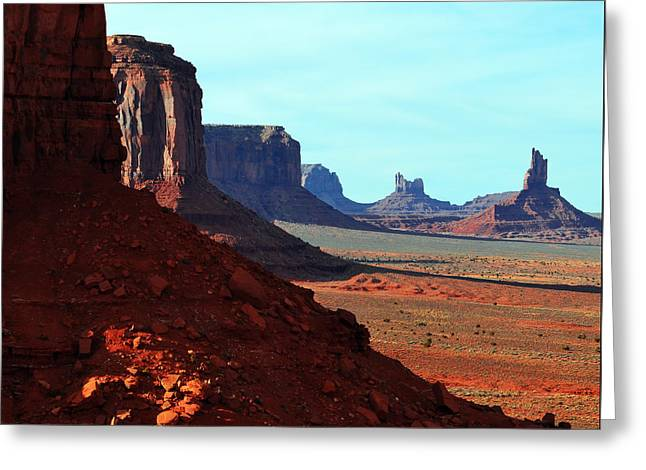 Monument Valley Red Sandstone Buttes In Profile Square Format Greeting Card