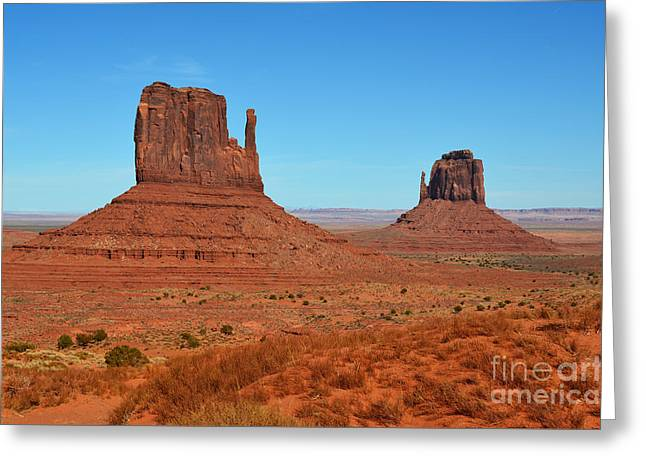 Monument Valley Red Sandstone Monoliths Aka The Mittens  Greeting Card by Shawn O'Brien