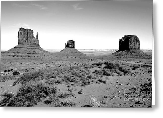 Monument Valley Monoliths Black And White Conte Crayon Digital Art Greeting Card