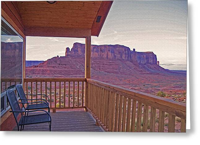 Monument Valley - Room With A View Greeting Card by Steve Ohlsen