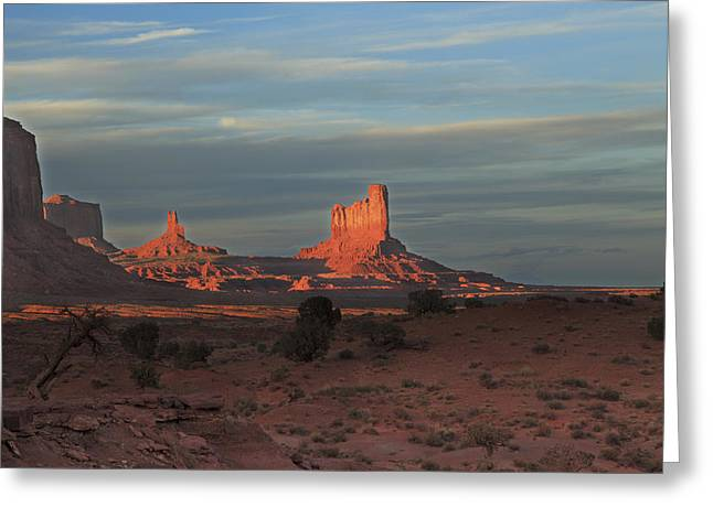 Greeting Card featuring the photograph Monument Valley Sunset by Alan Vance Ley