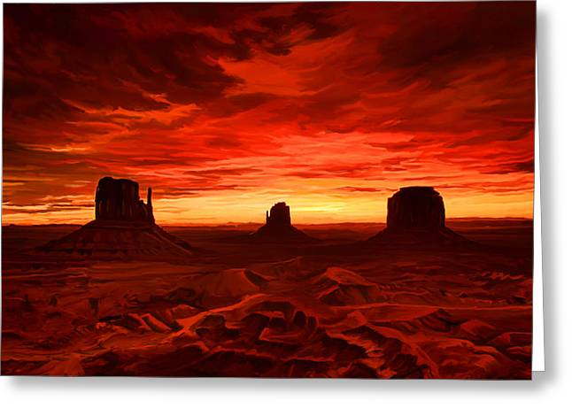 Greeting Card featuring the painting Monument Valley Sunset by Tim Gilliland