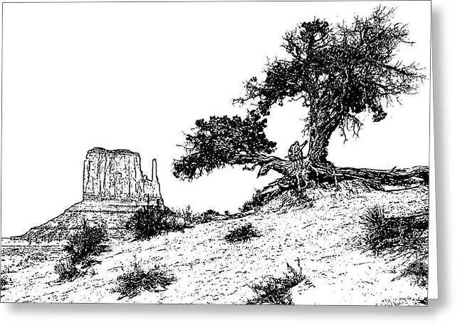 Monument Valley Tree And Monolith Scenic Landscape Black And White Stamp Digital Art Greeting Card by Shawn O'Brien