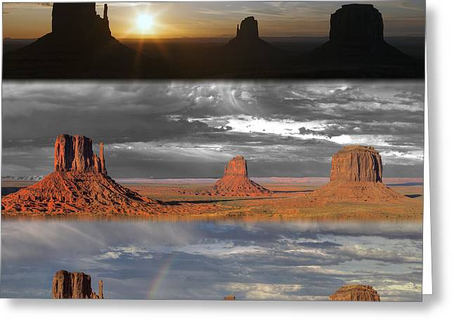 Monument Valley Triptych Greeting Card by Patrick Jacquet