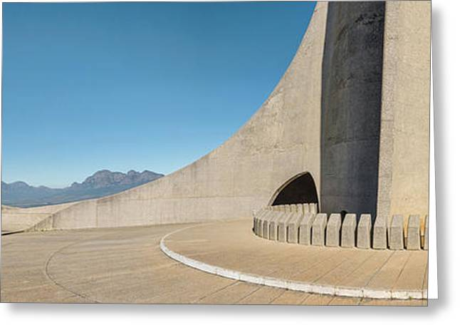 Monument With Mountain Range Greeting Card
