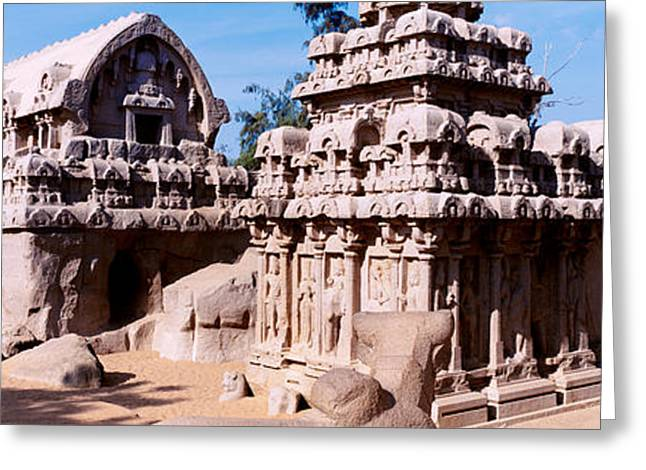 Monuments In A Temple, Panch Rathas Greeting Card by Panoramic Images