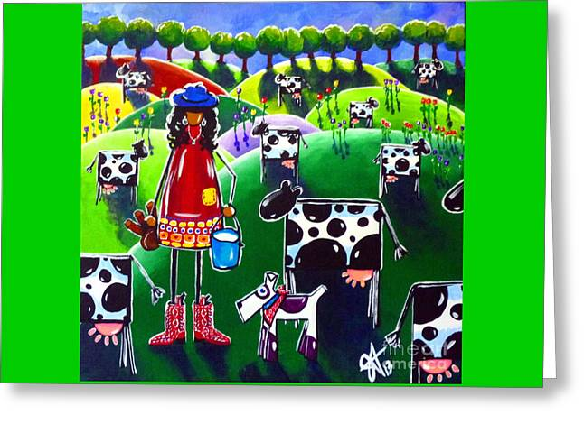 Moo Cow Farm Greeting Card by Jackie Carpenter