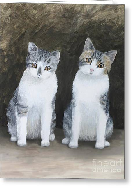 Mooch And Smooch Greeting Card by Denise M Cassano