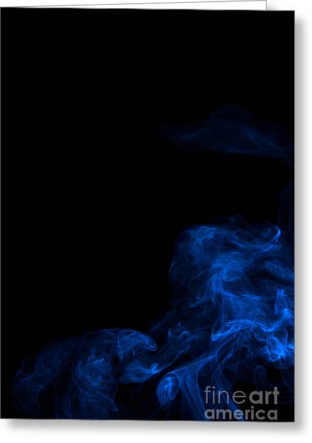 Abstract Vertical Paris Blue Mood Colored Smoke Art 02 Greeting Card by Alexandra K