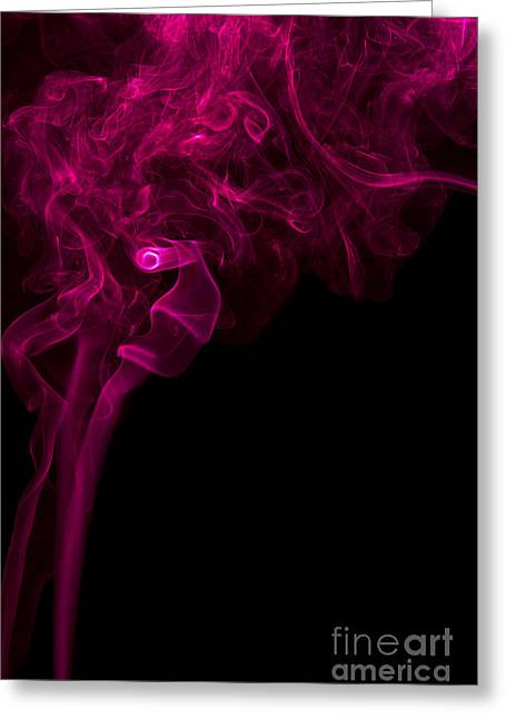 Mood Colored Abstract Vertical Purple Smoke Wall Art 01 Greeting Card by Alexandra K