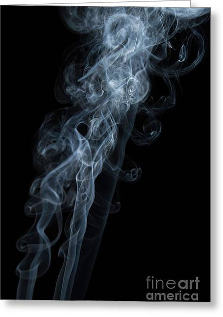 Abstract Vertical White Mood Colored Smoke Wall Art 01 Greeting Card by Alexandra K