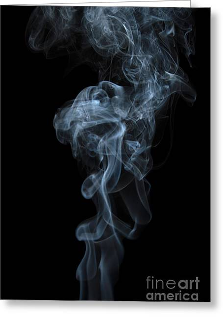Abstract Vertical White Mood Colored Smoke Wall Art 03 Greeting Card by Alexandra K