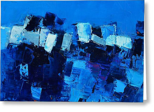 Mood In Blue Greeting Card by Elise Palmigiani