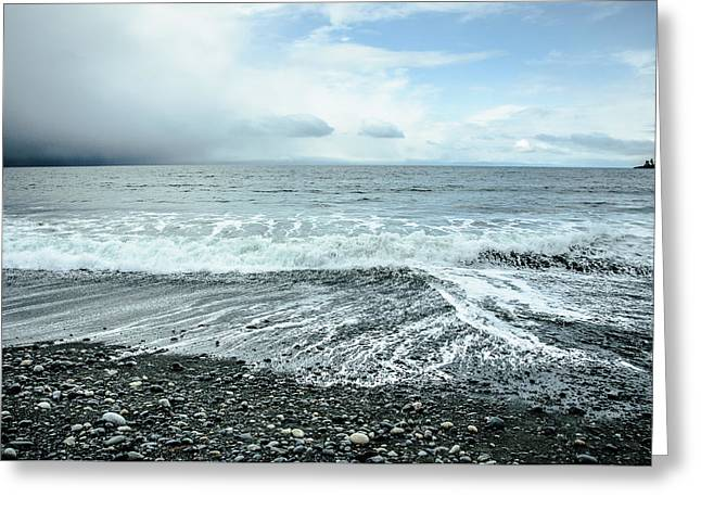 Moody Waves French Beach Greeting Card