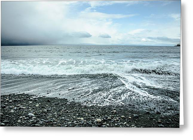 Moody Waves French Beach Greeting Card by Roxy Hurtubise