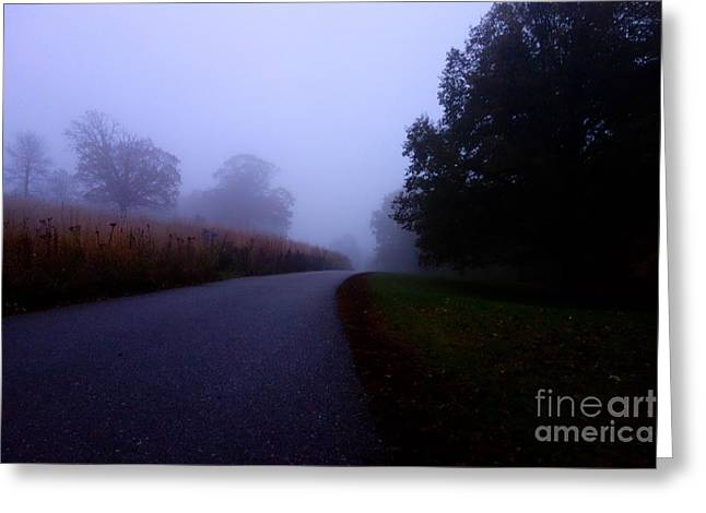 Greeting Card featuring the photograph Moody Autumn Pathway by Jacqueline Athmann