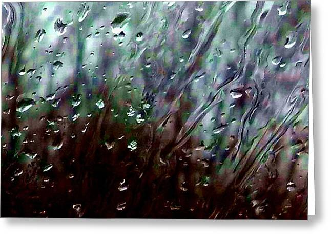 Greeting Card featuring the photograph Moody Blues Rain On The Window Series 2 Abstract Photo by Marianne Dow