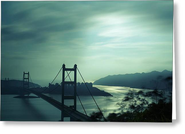 Greeting Card featuring the photograph Moody Bridge by Afrison Ma