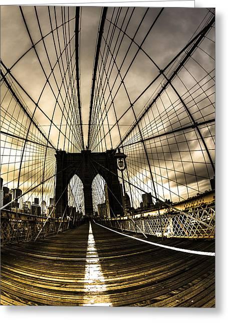 Moody Brooklyn Bridge Greeting Card by Chris Halford