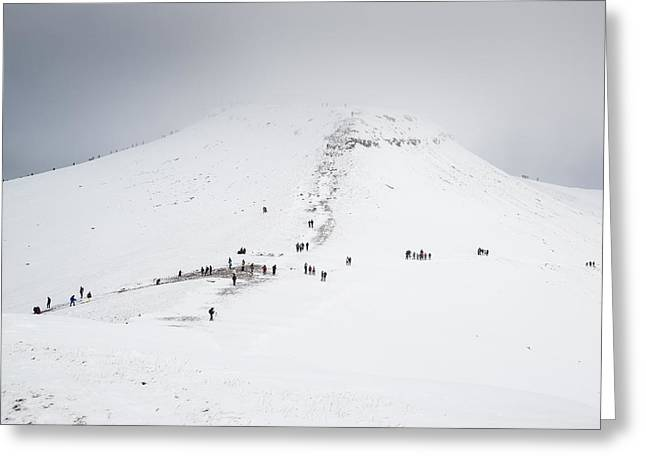 Moody Dramatic Low Cloud Inversion Over Mountain Winter Landscap Greeting Card by Matthew Gibson