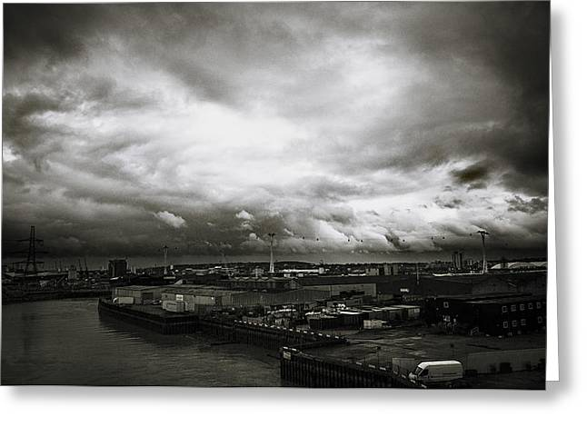 Moody Skies In London Greeting Card by Lenny Carter