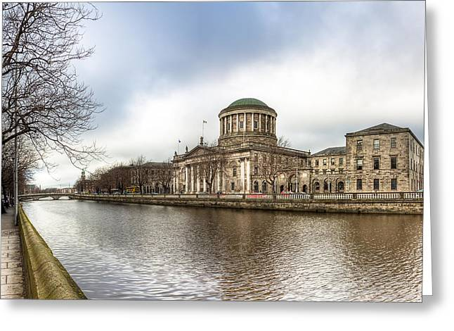 Moody Winter Day On Inns Quay In Dublin Greeting Card by Mark E Tisdale