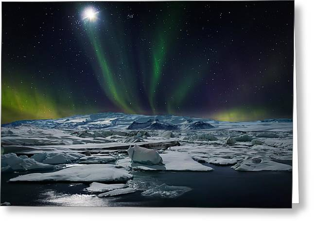 Moon And Aurora Borealis, Northern Greeting Card by Panoramic Images