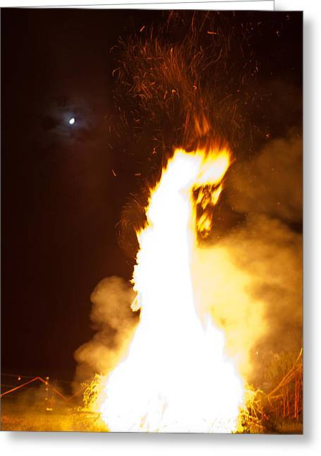 Moon And Bonfire Greeting Card by Claus Siebenhaar