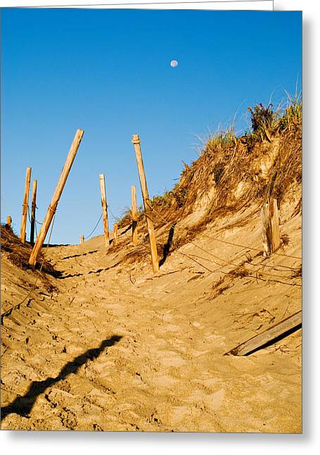 Moon And Dunes Greeting Card