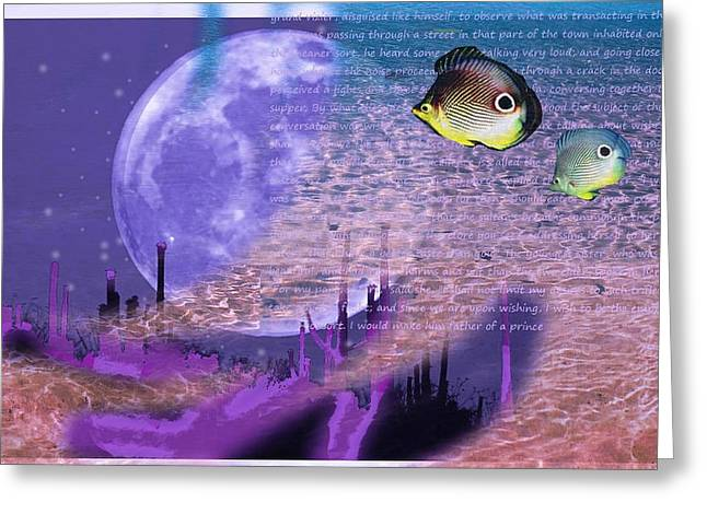 Moon And Fishes Greeting Card by Ana Babin