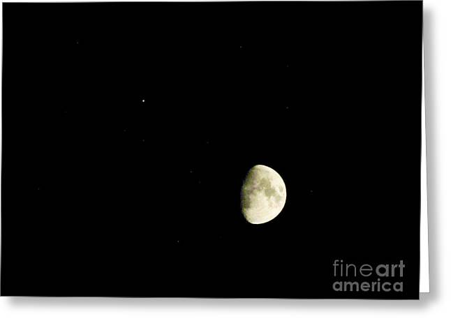 Moon And Jupiter Greeting Card