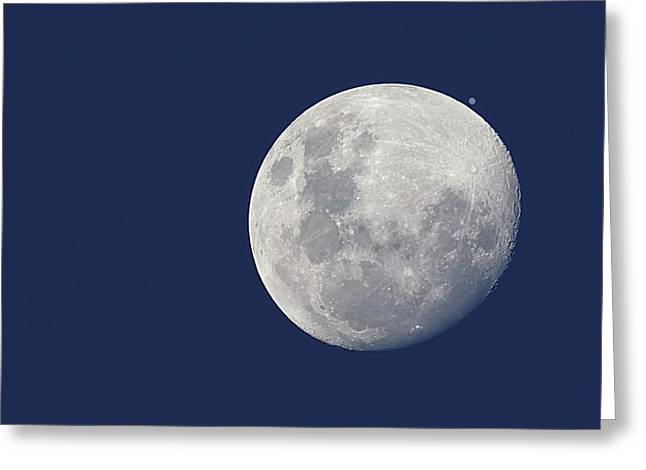 Moon And Jupiter Greeting Card by Luis Argerich