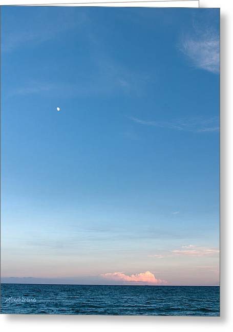 Moon And Pink Cloud Greeting Card by Michelle Wiarda